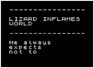 Lizard Inflames computer generated story World Geoff Davis